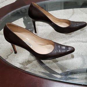 Manolo Blahnik size 38 chocolate brown heels